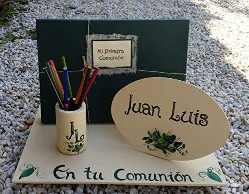 Regalo libro de comunión niño Hecho a mano con un libro de firmas para comunión completamete personalizado con el nombre del niño, la fecha, la Iglesia, el restaurante y una dedicatoria personal.