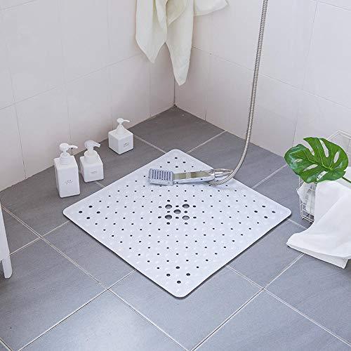 Waaiervormige douchematten, badmatten, badmatten, PVC, wasbaar in de machine, gemakkelijk schoon te maken, geschikt voor hoteltoilet 54x54cm-Wit B_54x54cm