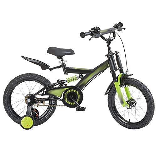 Axdwfd Kinderfiets 14 inch kinderfiets met steunwiel, 3-5 jaar leeftijd jongen en meisjes met Spring Shock System fiets