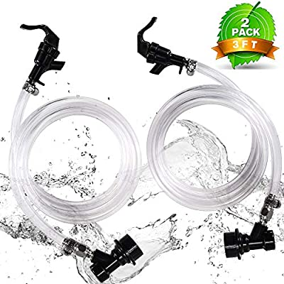 ?2 PACK?MRbrew 3ft Clear Ball Lock Beer Line, 3/16'' I.D Keg Quick Disconnect Draft Beer Line Assembly with 2 Picnic Faucet & 4 Food-Grade Hose Clamps, Liquid Dispensing Tube Kit for Homebrew