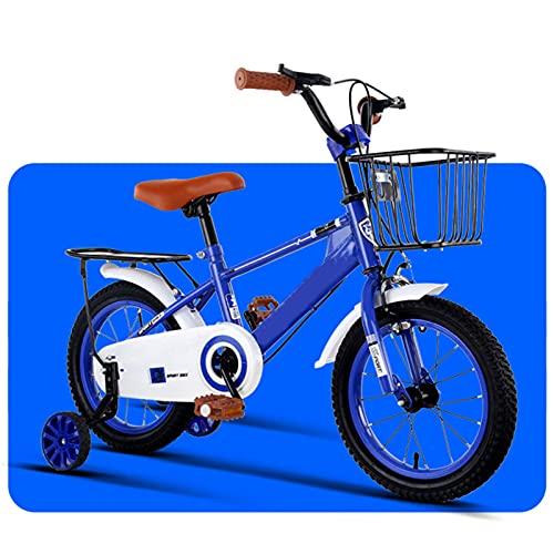 WJS Bicicletas Infantiles,Bicicletas Niño Niña 2-7 Años,Bicicletas 12 14 16 Pulgadas,Bici con Ruedines Y Cesta,Ruedas Auxiliares Bicicleta para Niños(Size:16inch,Color:Azul)