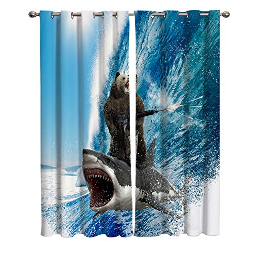 Blackout Curtains/Drapes for Kids Bedroom Funny Bear with Machine Gun and Shark Surfing Ocean Wave Window Treatments Grommet Top Curtains for Living Room Kitchen 2 Pannels Set, 40(W)X63(H)InX2