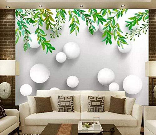 ZZXIAO Hand gezeichneter Kreis der grünen Blätter wandpapier fototapete 3d effekt tapete Wohnzimmer Schlafzimmer Hintergrundbild-300cm×210cm
