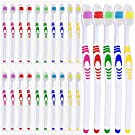 25 Bulk Toothbrushes   Individually Wrapped   Manual Disposable Travel Toothbrush Set for Adults or Kids   Made with a Medium-Soft Large Head   Multi-Color   Travel Toiletry Oral Set