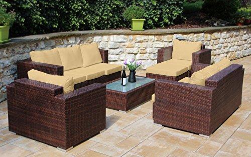 Baidani Daylight 13b00007.95001 Rattan Garden Lounge Set 192 x 150 x 63 cm Brown