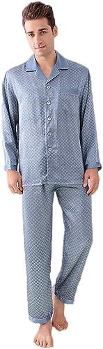 GOUDAN Ensemble de Pyjama en Soie Pure pour Hommes, Pyjama de vêteHommests de Nuit Longs, male léger en Soie Mulberry,bleu,XXXL