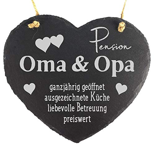 camolo Schieferherz 20x17cm Mit Spruch Gravur Deko Wandbild Zum Aufhängen Herz Schiefer Natur Geschenk (Pension Oma & Opa)