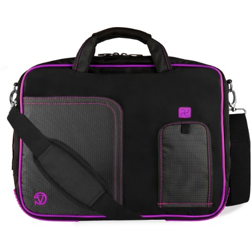 VanGoddy Purple Trim Laptop Bag for HP ChromeBook/Omen/Spectre/Stream/Pavilion/Envy 14'-15.6inch