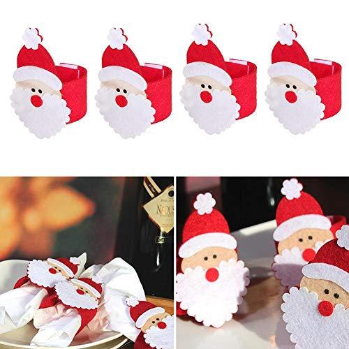 LINKLANK 8 servilleteros de Navidad, Bonitos Anillos de servilleta de Papá Noel, Soporte para servilletas, Anillo...