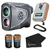 Bushnell PRO XE Advanced Laser Golf Rangefinder with Included Carrying Case, Carabiner, Lens Cloth, and 1 Extra CR2 Battery Bundle