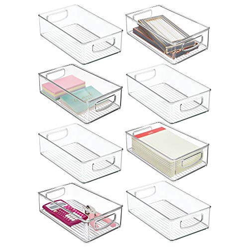 """mDesign Stackable Plastic Home Office Storage Organizer Container with Handles for Cabinets, Drawers, Desks, Workspace - BPA Free - for Pens, Pencils, Highlighters, Notebooks - 6"""" Wide, 8 Pack - Clear"""