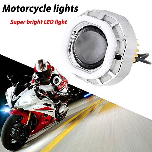 TABEN U1112V LED proiettore kit Hi/Low Beam Angel Eyes Devil occhi faro per moto xeno bianco–piccolo cerchio grande cerchio bianco + blu