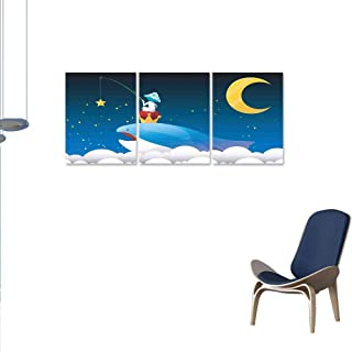 Whale Canvas Wall Art Set King Whale on Top of Night Clouds with Stars and Moon with Child Sitting on Print Wall Stickers 24