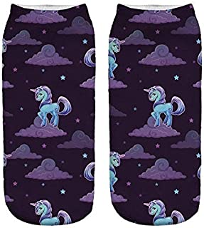 Low Cut Ankle Socks Unicorn Print - Unicorns by Night 1 pair
