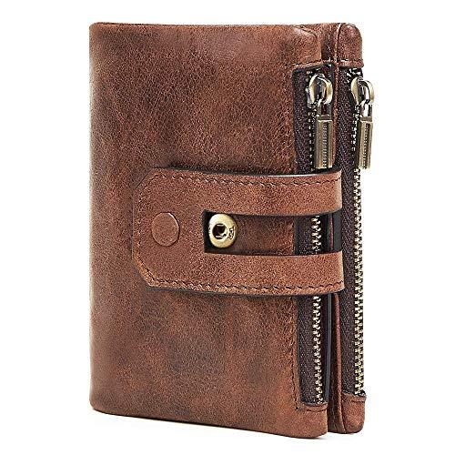 Ybzx Bluemeow Cartera Corta de Cuero Genuino con Bloqueo RFID para Hombres, Doble Bolsillo con Cremallera, Monedero Plegable, Monedero de Viaje con Caja de Regalo (marrón)