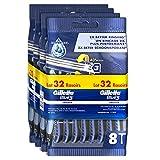 Gillette Blue 3 Smooth Rasoirs Jetables Homme Bande Lubrastrip Comfortgel, Lot de 32...