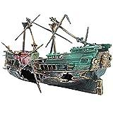 LKHF Barco hundido Acuario Ornamento Pirata Barco decoración Paisaje doméstico Puerta de la Aleta Peces escondite Refugio para Acuario