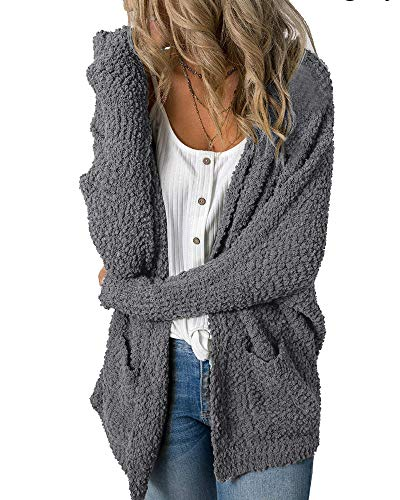 Imily Bela Womens Fuzzy Chunky Cardigan Popcorn Oversized Sherpa Slouchy Open Sweater Coat (Small, Dark Grey)