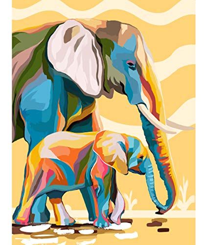 Petrala Paint by Numbers for Adults Kids Ages 8-12 DIY Elephant Painting on Canvas Large Colorful Abstract Drawing Paintworks Home Decor Without Frame, 16 x 20 Inch