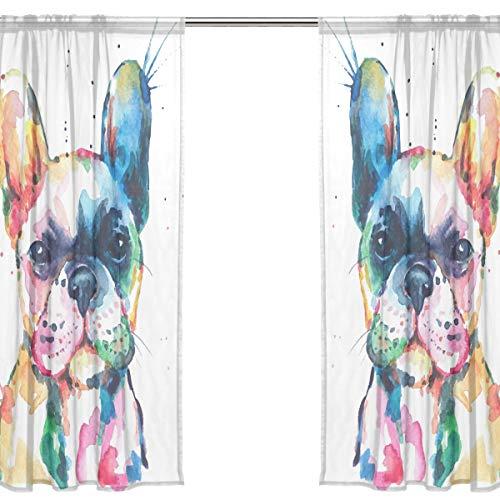 Orediy Vorhang aus Voile, transparent, 2 Paneele, Aquarell, Französische Bulldogge, 40 % Verdunkelungsstange, lange Gardine, Fensterbehandlung, Schlafzimmer, Wohnzimmer, 2* 140W x 200 H