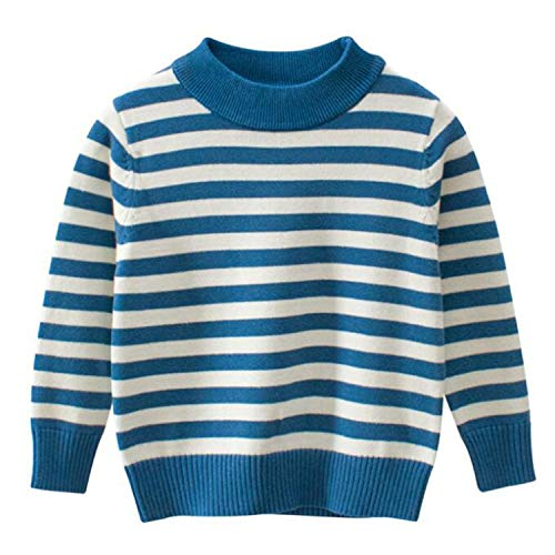 New Warm Autumn Winter Toddler Girl Sweater Striped Pullover Kids Sweaters Boys Winter Tops Children Outerwear Blue 3T