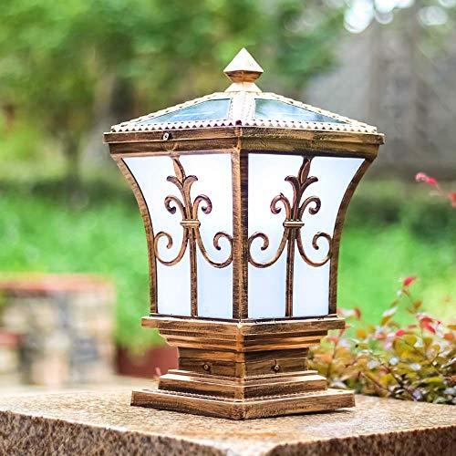 Lámpara de pared para exteriores Linterna de vidrio tradicional Poste de lámpara de pilar solar Luz de columna impermeable Luz de pared para valla al aire libre Casa Jardín de la casa Iluminación con