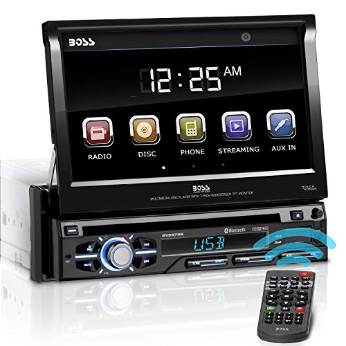 BOSS AUDIO BV9979B single-DIN dvd-speler autoradio met uittrekbare 7 inch multi-color touchscreen display