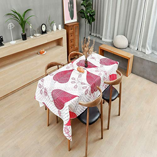 LIUJIU Mantel, lino de algodón, sin arrugas, lavable mantel bordado para mesa de cocina, 140x250cm