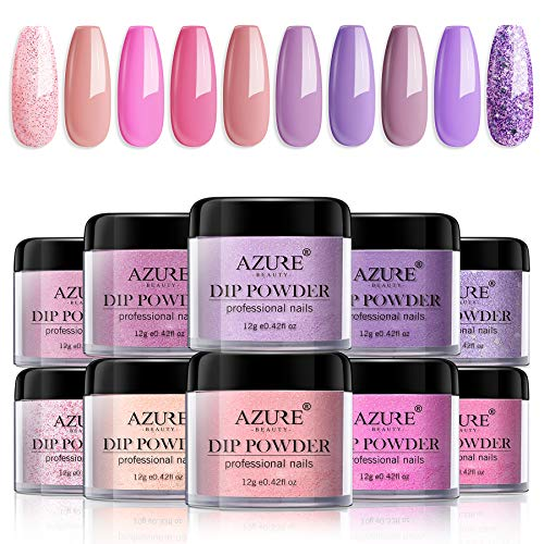 Dip Powder Nails Color Set - Pink Purple 10 Colors Nails Acrylic Powders Set for French Nail Manicure Nail Art No Nail Lamp Needed
