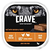 Natural ingredients and a flavour that your dog can't say no to. Satisfy their nature with Crave Chicken and Turkey pate / Premium quality, moist meaty pate loaf Heavy protein-rich food with pieces of meat designed to help build strong muscles and ke...