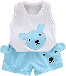 Sumeier Summer Infant Baby Kids Boys Girls Cartoon Bear Print Tops + Shorts Casual Summer Clothes Outfit Set Suits for 6 M...