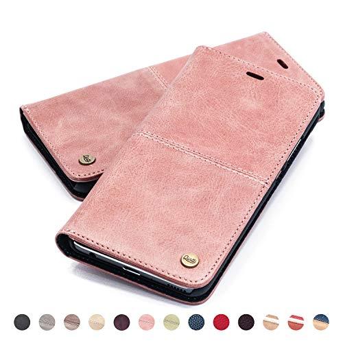 QIOTTI Hülle Kompatibel mit iPhone 6s Plus iPhone 6 Plus Ledertasche aus Hochwertigem Leder RFID NFC Schutz mit Kartenfach Standfunktion in Rosa