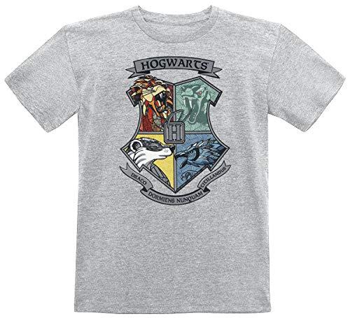 HARRY POTTER Escudo de Hogwarts Unisex Camiseta Gris/Melé 152, 50% algodón, 50% poliéster,