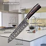 Joyspot Japanisches Santoku Messer, 7 inch Kochmesser Profi Messer Deutsche Karbon-Edelstahlmesser Extra Scharfe Messerklinge mit Ergonomischer Griff, Beste für Home Kitchen … - 3