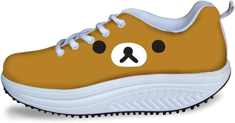 Owaheson Swing Platform Toning Fitness Casual Walking shoes Wedge Sneaker Women Unhappy Brown Bear Face