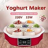 YYBB Joghurtbereiter,LED Display Joghurt Maker Mit Timer Bis 15Stunden Joghurtmaschine 7X160ml Glasbehälter, Automatische Abschaltung