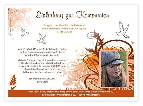Kommunioneinladungen für Mädchen schön edel - mit FOTO (oder ohne) - Wunschtext - 1 Karte, Größe 17 x 12 cm