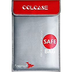 Image: COLCASE Fireproof Document Bag 15x11 Non-Itchy Silicone Coated Fire Resistant Money Bag Fireproof Safe Storage for Money, Documents, Jewelry and Passport