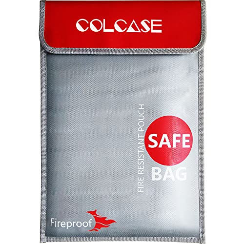COLCASE Fireproof Document Bag 15 x 11 Inches Non-Itchy Silicone Coated Fire Resistant Bag Fireproof Safe Storage for Money, Documents, Jewelry and Passport