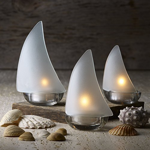 Design Ideas Regatta Candleholder Set, Glass Sailboat Tealight Holders (White Frost)