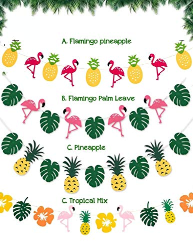 Pink Flamingo Party Banner-Flamingo Garland (WGW), Tropical Party, Hawaiian Party Banner, Pineapple Banner, Pineapple Party Decoration (Tropical Mix)