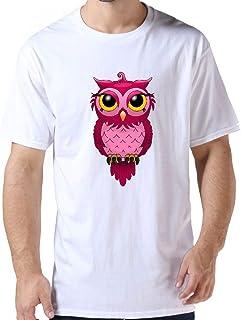 ZYXcustom Custom Men's T Shirts Pink OWL Personalized T-Shirt for Men