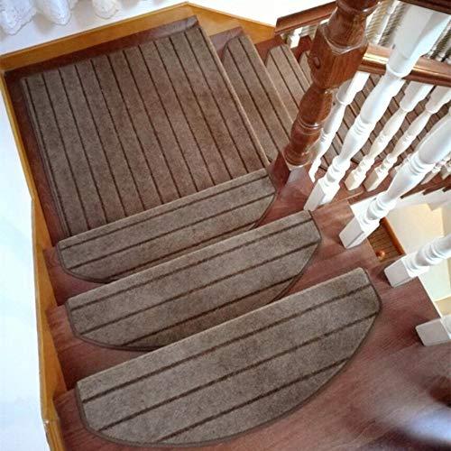TOUCHFIVE selbstklebend Treppenteppich Treppen-Teppich Stufenmatte Teppich Läufer   halbrund   - 15 Stück (Kaffee gestreift, 65 * 24cm)