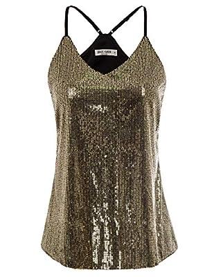 GRACE KARIN Women Sequin Sleeveless Tank Top Camisole Club Vest Size XL,Gold
