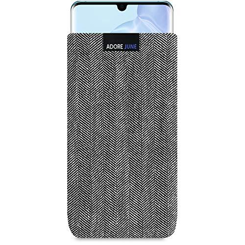 Adore June Business Tasche für Huawei P30 Pro Handytasche aus charakteristischem Fischgrat Stoff - Grau/Schwarz | Schutztasche Zubehör mit Bildschirm Reinigungs-Effekt | Made in Europe
