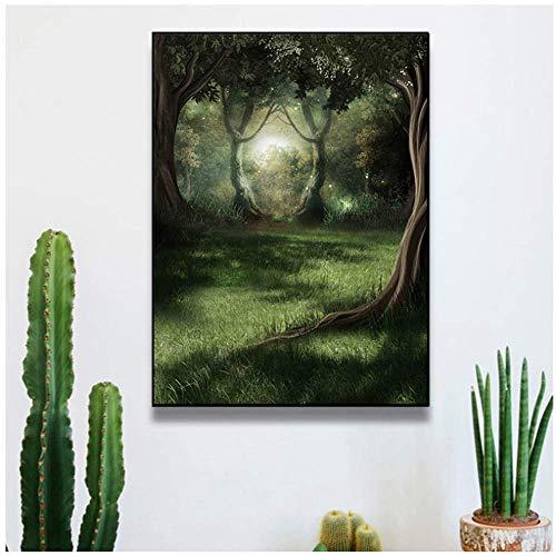 """RUIQIN Pôster de arte de parede moderna natural vaga-lume floresta verde pintura paisagem arte imagem pôster decoração de casa 60 x 70 cm/23,6"""" x 27,6"""" com moldura"""