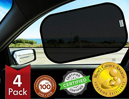 Kinder Fluff Car Window Sunshades (4X)-The Only Certified Sunshade to Block 99.79% UVA & 99.95% UVB -Mom's Choice Gold Award Winner- 120GSM & 15S Static Film Sun Shades