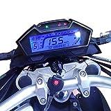 KKmoon Odómetro Moto,LCD Digital Velocímetro 199 km/h,Indicador de Combustible y Temperatura 13000RPM Tacometro Universal para 2,4 cilindros Motocicleta