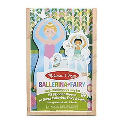 Melissa & Doug Ballerina and Fairy Magnetic Dress-Up Double-Sided Wooden Doll and Swan Pretend Play Set (52 pcs) from Melissa & Doug