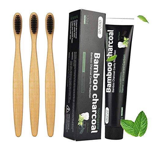 Cepillo de dientes de bambú con cerdas suaves + pasta de dientes de carbón activo Whitening Nano, cepillos de dientes de madera con cerdas naturales, sin plástico sostenible